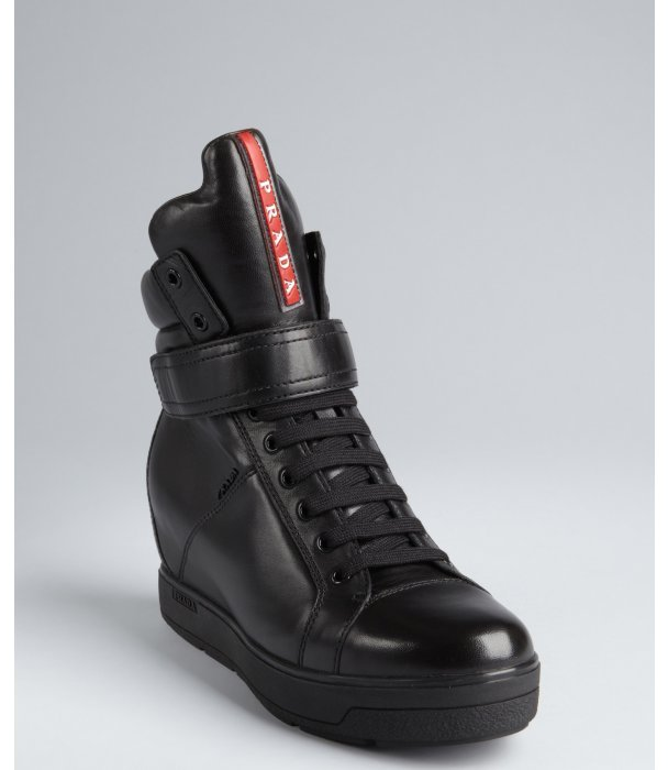 Prada Sport black leather oversized tongue high-top wedge sneakers