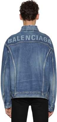 Balenciaga Distressed Denim Jacket W/ Logo Print