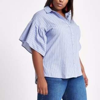River Island Plus blue stripe short bell sleeve shirt