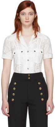 Chloé White Lace Patch Pocket Shirt