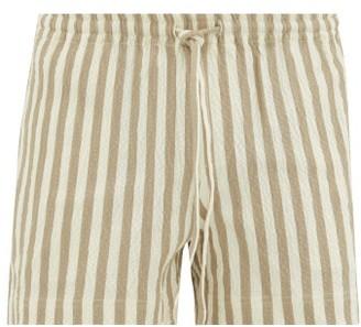BEIGE Commas - Striped Cotton Blend Shorts - Mens Multi