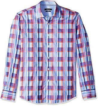 Bugatchi Men's Shaped Fit Point Collar Check Print Sport Woven Shirt