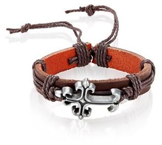 West Coast Jewelry Men's Brown Leather Fleur de Lis Cross Adjustable Bracelet (14mm)