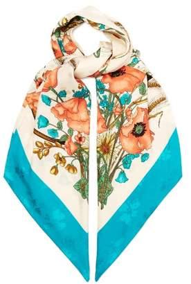 Gucci Floral Print Silk Scarf - Womens - Blue