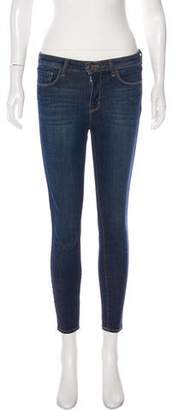L'Agence Distressed Mid-Rise Skinny Jeans