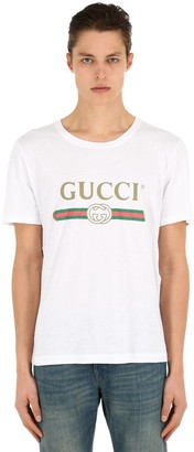 Gucci Logo Printed Cotton Jersey T-Shirt