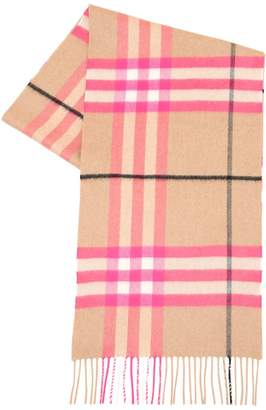 Burberry Neon Giant Check Cashmere Scarf