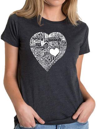 LOS ANGELES POP ART Los Angeles Pop Art Women's Premium Blend Word ArtT-shirt - LOVE IN 44 DIFFERENT LANGUAGES