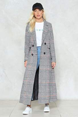 Nasty Gal You'll Go a Long Way Check Coat