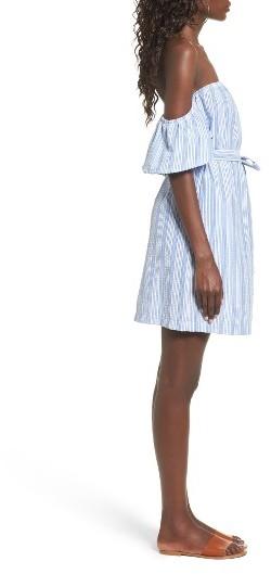 Women's Mimi Chica Seersucker Off The Shoulder Dress 2