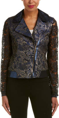 Elie Tahari Leather-Trim Jacket