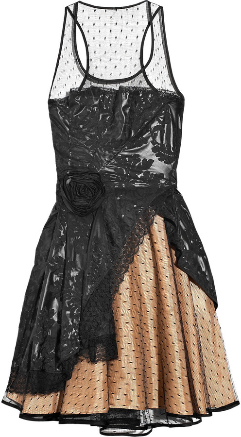 Red Valentino Glossed-twill and tulle dress