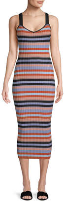 Torn By Ronny Kobo Yaela Striped Midi Dress