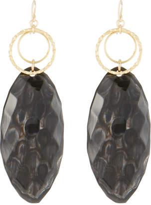Devon Leigh Hoop & Faceted Horn Drop Earrings