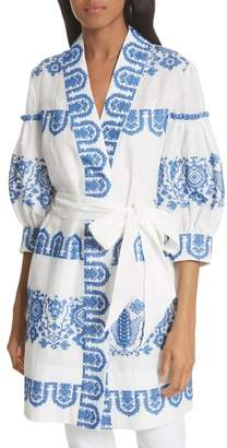 Milly Mykonos Embroidered Tie Waist Linen Dress
