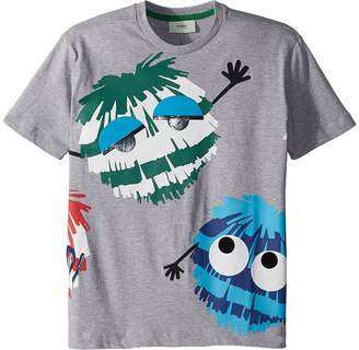 Fendi Short Sleeve Logo Fur Monster Graphic T-Shirt Boy's T Shirt