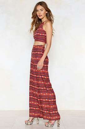 Nasty Gal Moving and Groovin' Crop Top and Wide-Leg Pants Set