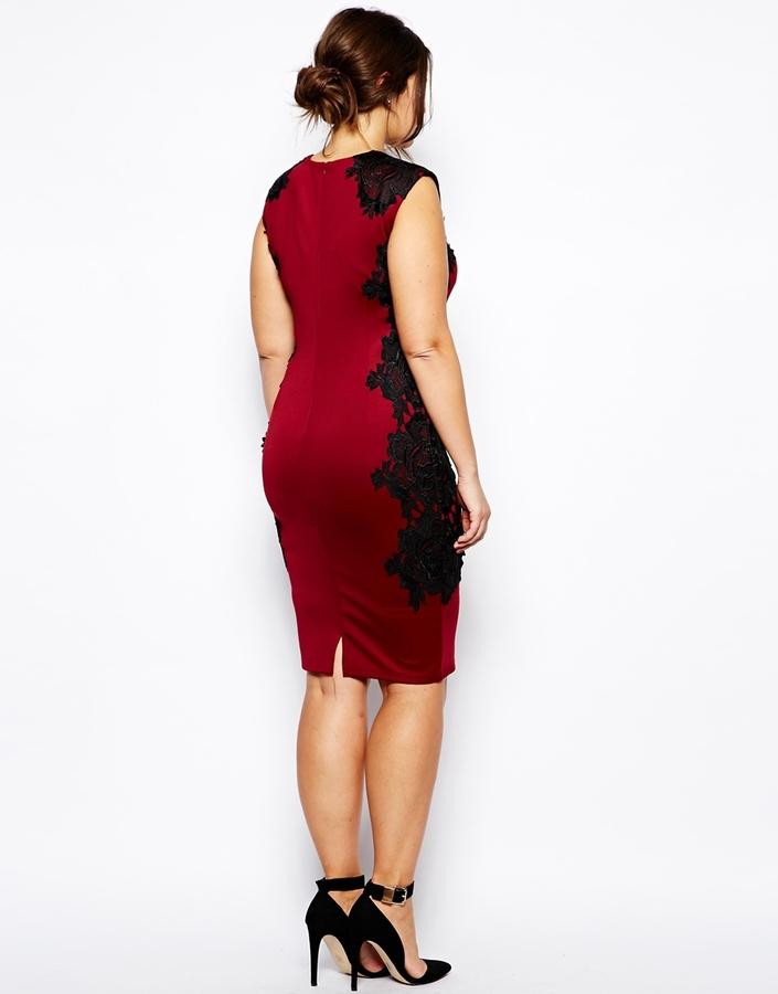 AX Paris Plus Size Body-Conscious Dress With Lace Panels