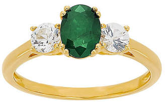 FINE JEWELRY Womens Genuine Green Emerald 10K Gold Cocktail Ring