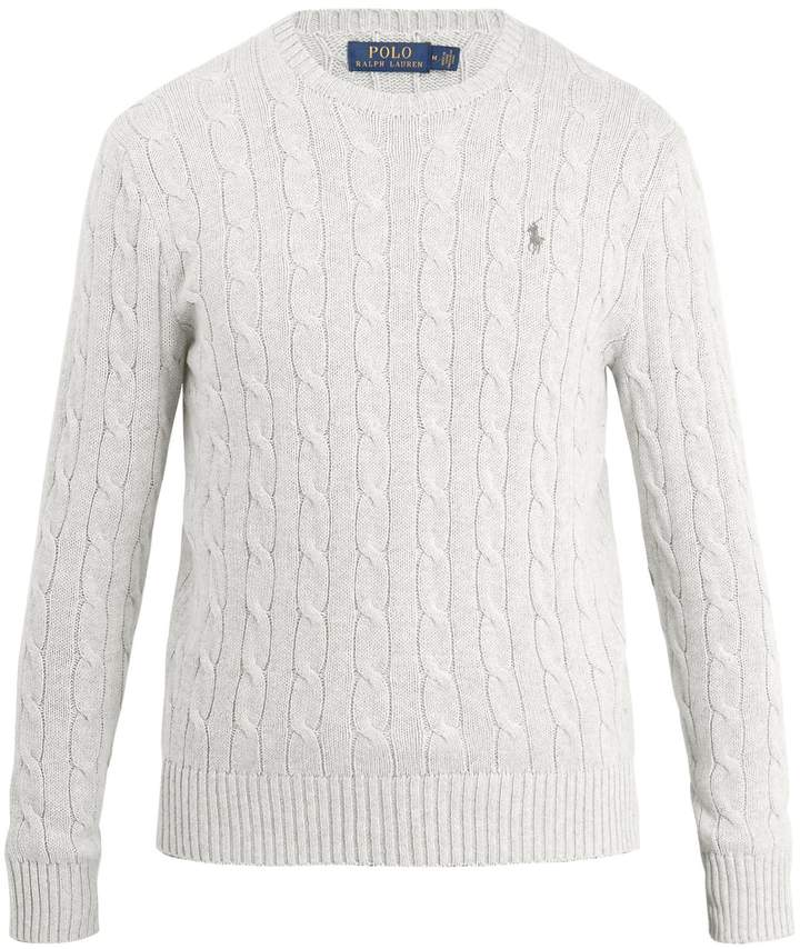 Polo Ralph Lauren Logo embroidered cable-knit crew-neck sweater