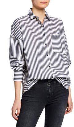 ATM Anthony Thomas Melillo Railroad Stripe Patch-Pocket Boyfriend Shirt