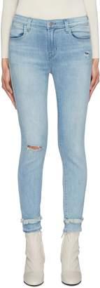 J Brand 'Alana' fringe trim ripped skinny jeans