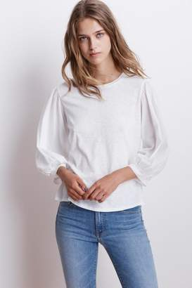 Velvet by Graham & Spencer SIMPSON COTTON SLUB CONTRAST PUFF SLEEVE TEE