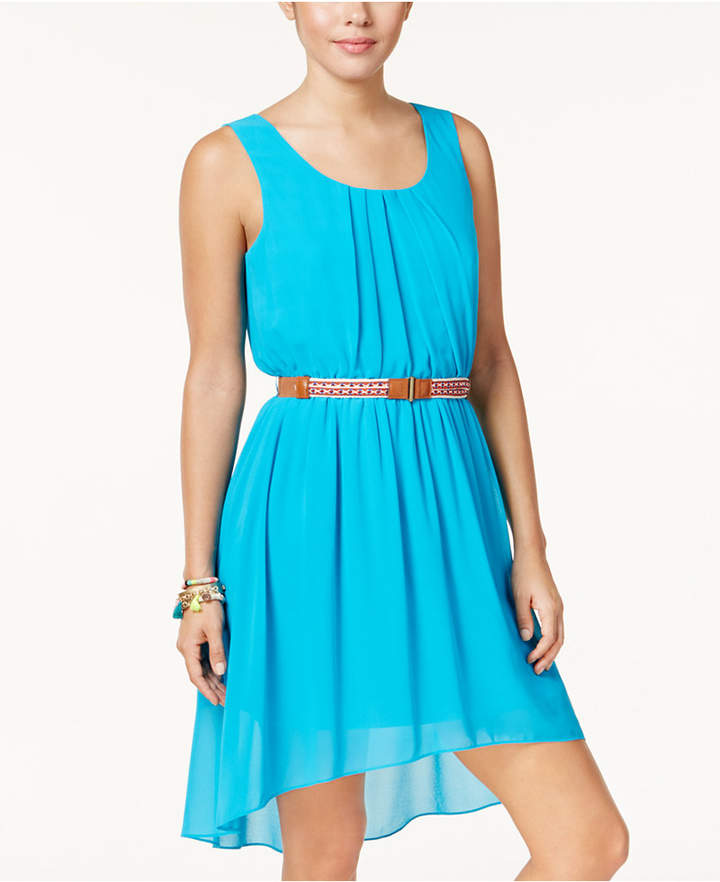 BCX Juniors' Belted High-Low Dress