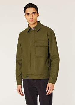 Paul Smith Men's Khaki Wool And Cashmere-Blend Military Jacket