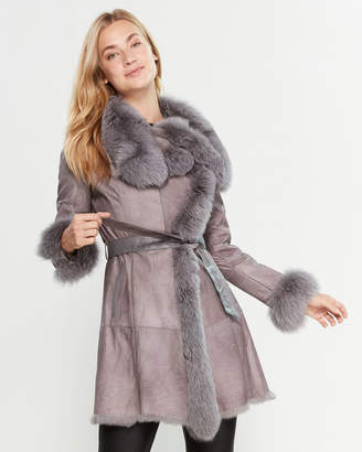 Intuition Paris Real Fur-Trimmed Belted Leather Coat