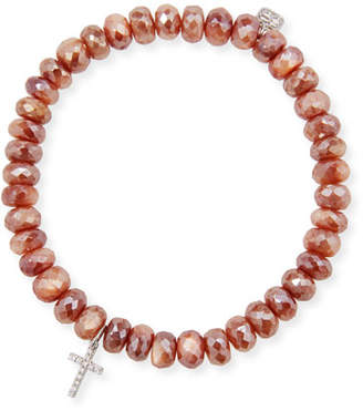 Sydney Evan 14k Moonstone & Cross Charm Bracelet
