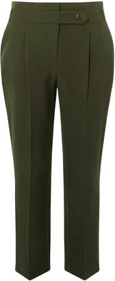 Dorothy Perkins Womens Khaki Button Tapered Trousers
