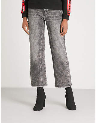 Maje Straight-fit faded-wash denim jeans