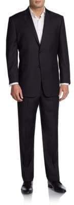 Saks Fifth Avenue BLACK Regular-Fit Chevron Tonal-Striped Wool Suit