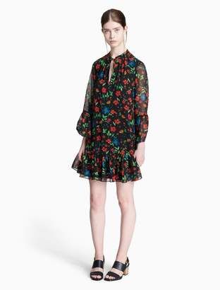 Calvin Klein floral tie neck flutter sleeve dress
