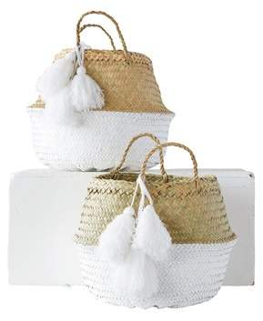 Mistana Painted Palm Leaf Collapsible Baskets