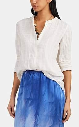 Raquel Allegra Women's Fringed Tonal-Plaid Cotton Gauze Blouse - White
