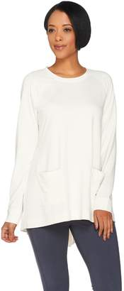 Logo By Lori Goldstein LOGO Lounge by Lori Goldstein Raglan Sleeve Top with Woven Shirttail