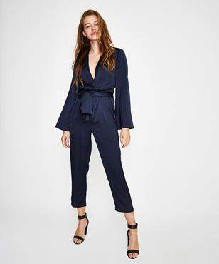 The Fifth Label Moonlit Long Sleeve Jumpsuit Navy