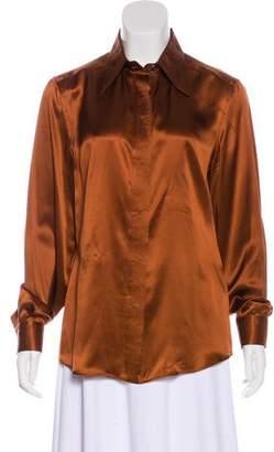 Dolce & Gabbana Satin Button-Up Blouse