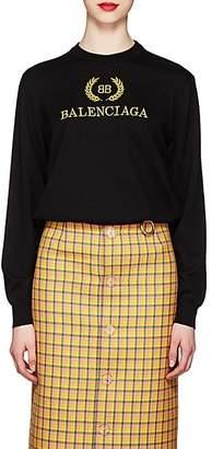 Balenciaga Women's Logo Virgin Wool Sweater - Black