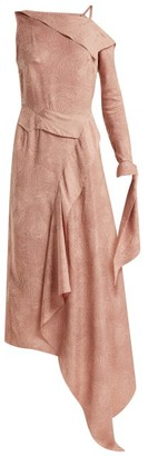 Roland Mouret Bruce Draped Silk Blend Jacquard Dress - Womens - Light Pink
