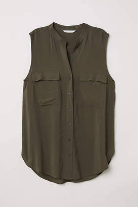 H&M Sleeveless Blouse - Dark khaki green - Women