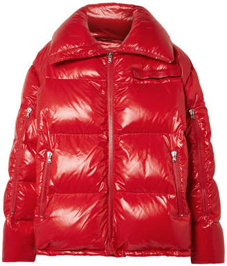 Calvin Klein Oversized Quilted Coated-shell Jacket - Red