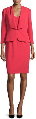 Albert Nipon Ruffle-Front Crepe Dress Suit $375 thestylecure.com