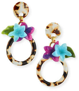 Lele Sadoughi Hibiscus Hoop Drop Earrings