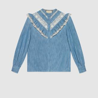 Gucci Denim ruffle shirt