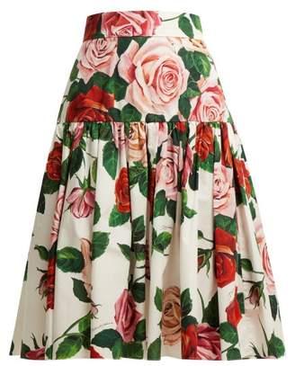 Dolce & Gabbana Rose Print Cotton Poplin Midi Skirt - Womens - White Multi