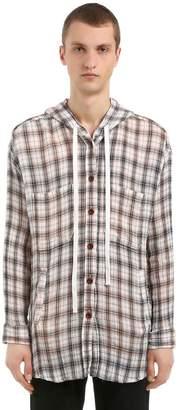 Faith Connexion Oversized Hooded Cotton Plaid Shirt