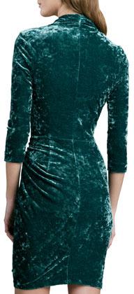 Catherine Malandrino Faux-Wrap Crushed Velvet Dress